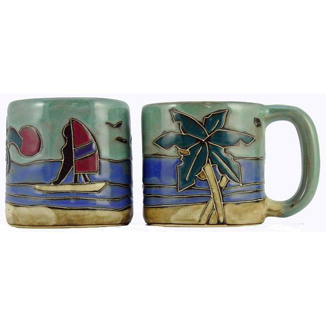 Set of 2 Mara Stoneware 16-oz Palm Trees Mugs (Mexico)