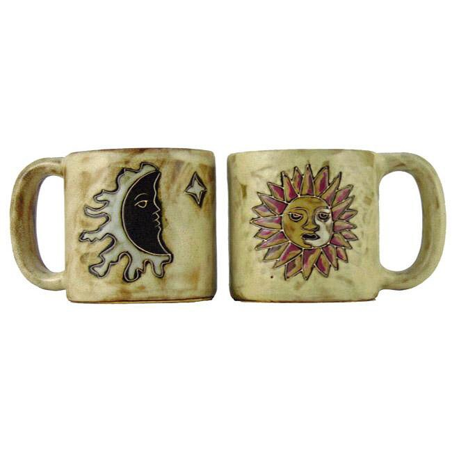 Set of 2 Mara Stoneware 16-oz Sun and Moon Tan Mugs (Mexico)