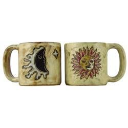 Set of 2 Mara Stoneware 16-oz Sun and Moon Tan Mugs (Mexico)