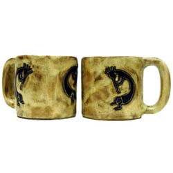 Set of 2 Mara Stoneware 16-oz Kokopelli Traditional Mugs (Mexico)
