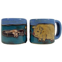 Set of 2 Mara Stoneware 16-oz Pigs Mugs (Mexico)