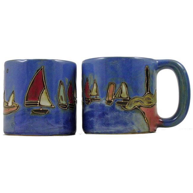 Set of 2 Mara Stoneware 16-oz Sailboat Mugs (Mexico)