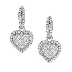 14k White Gold 1 7/8ct TDW Pave Diamond Heart Earrings (G-H, SI1)