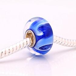 Murano Inspired Glass Blue and White Swirl Charm Beads (Set of 2)