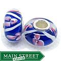 Murano Inspired Glass Blue/White/Pink Flower Charm Beads (Set of 2)