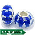 Blue and White Stripe Murano Inspired Glass Bubble Beads (Set of 2)