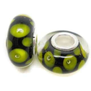 Murano Inspired Glass Black with Yellow Dots Charm Beads (Set of 2)