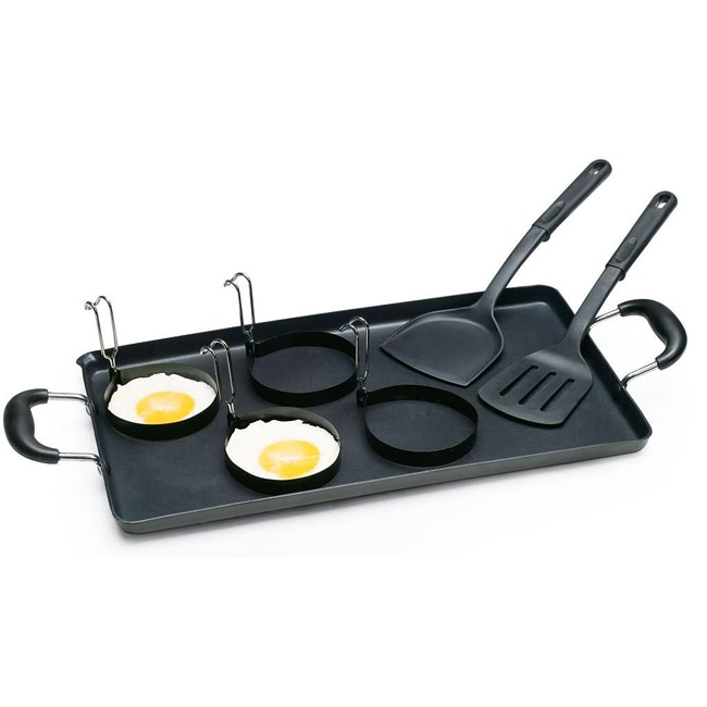 Cook N Home Nonstick Aluminum Double Griddle Set with Egg Rings and Spatulas