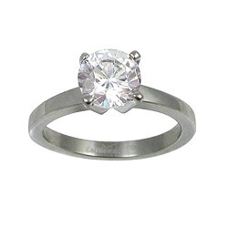 Polished Stainless-Steel Cubic Zirconia Solitaire Ring