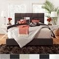 Deals on TRIBECCA HOME Sarajevo Bonded Leather Column King-sized Upholstered Bed