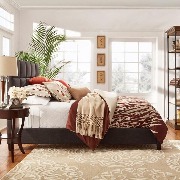MID-CENTURY LIVING Fenton Column Upholstered King-sized Bed