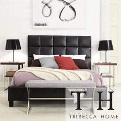 TRIBECCA HOME Sarajevo King-Sized Dark Brown Faux Leather Bed