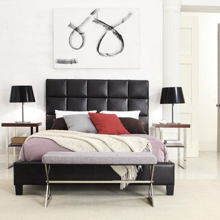 TRIBECCA HOME Sarajevo Dark Brown Bonded Leather Column Full-sized Upholstered Bed