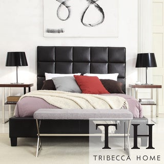 TRIBECCA HOME Sarajevo Queen-Sized Dark Brown Faux Leather Bed