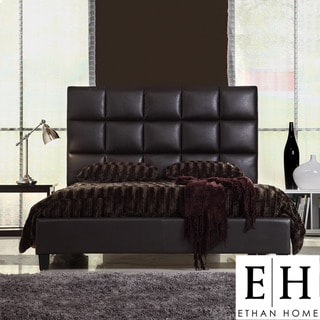 ETHAN HOME Sarajevo Queen-Sized Dark Brown Faux Leather Bed