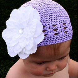 Crocheted Lavender Kufi Hat with White Flower