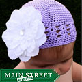 Crocheted Lavender Kufi Hat and Detachable White Flower