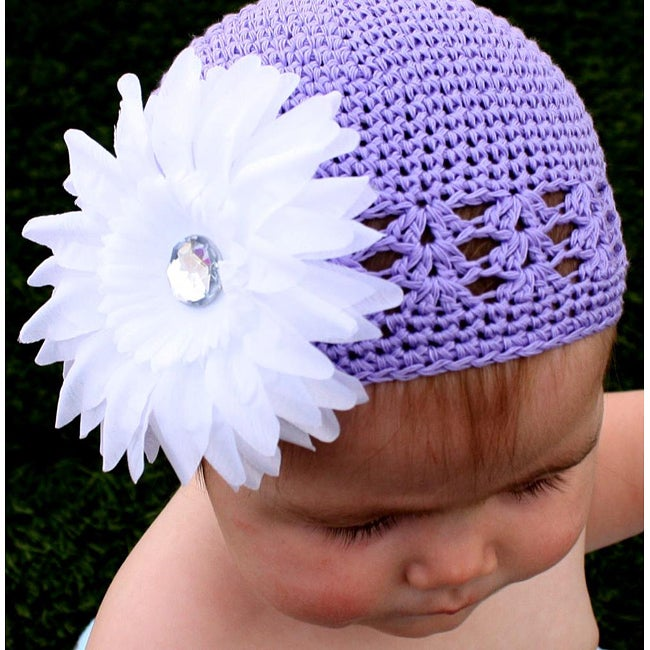 Crocheted Lavender Kufi Hat and Detachable White Daisey
