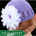 Crocheted Lavender Kufi Hat with White/ Lavender Flower