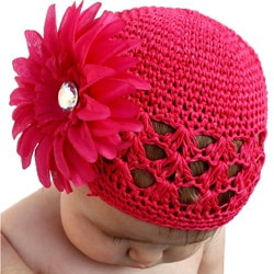 Crocheted Hot Pink Kufi Hat with Hot Pink Flower