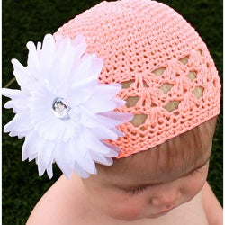 Crocheted Light Peach Kufi Hat with White Flower