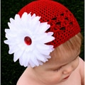 Crocheted Red Kufi Hat with White Flower Red Rhinestone