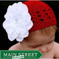 Crocheted Baby and Toddler Red Kufi Hat with White Flower