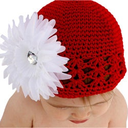 Crocheted Red Kufi Hat with White Flower