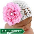 Crocheted White Kufi Hat with Double Pink Flower