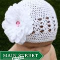 Crocheted White Kufi Hat with White Flower Pink Rhinestone