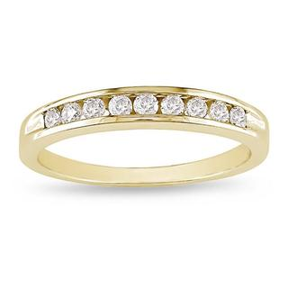 Miadora 10k Yellow Gold 1/4ct TDW Diamond Wedding Band (G-H, I2-I3)