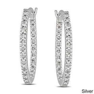 Haylee Jewels Sterling Silver 1/4ct TDW Diamond Hoop Earrings (G-H, I2-I3)