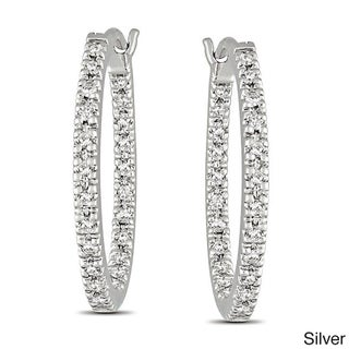 M by Miadora Sterling Silver 1/4ct TDW Diamond Hoop Earrings (G-H, I2-I3)
