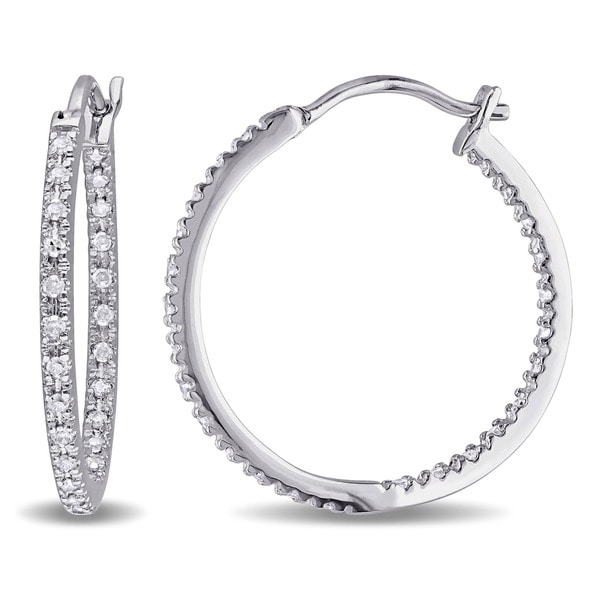 Miadora Sterling Silver 1/4ct TDW Diamond Hoop Earrings (G-H, I2-I3)