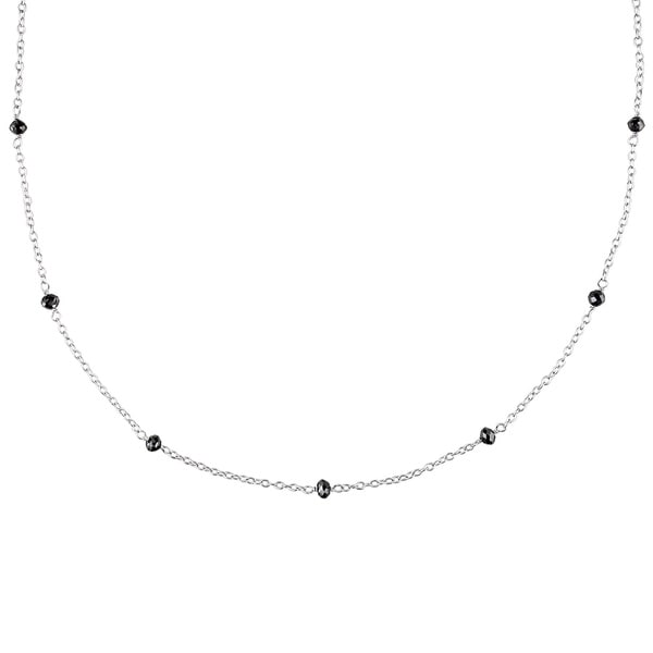 Miadora Sterling Silver 1ct TDW Black Diamond Station Necklace
