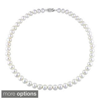 M by Miadora White Cultured Freshwater Pearl Necklace (7-7.5 mm)
