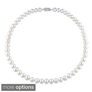 M by Miadora White Cultured Freshwater Pearl Necklace (7-7.5 mm) with Bonus Earrings