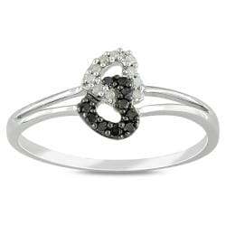 Miadora Sterling Silver 1/10ct TDW Black and White Diamond Ring (G-H, I3)