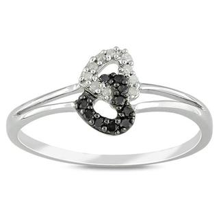 M by Miadora Sterling Silver 1/10ct TDW Black and White Diamond Ring (G-H, I3) with Bonus Earrings