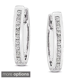 Miadora Silver 1/4ct TDW Diamond Hoop Earrings (G-H, I2-I3)