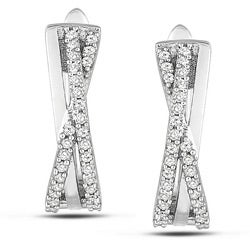 Sterling Silver 1/4ct TDW Diamond Cuff Earrings (G-H, I3)