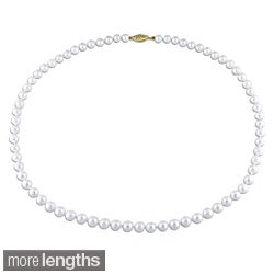 Miadora White 5.5-6mm Cultured Akoya Pearl Necklace (18-30 inches)