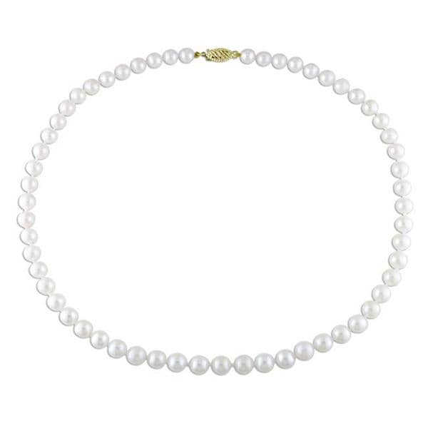 Miadora White Cultured Akoya Pearl 16-inch Necklace (6-6.5 mm)