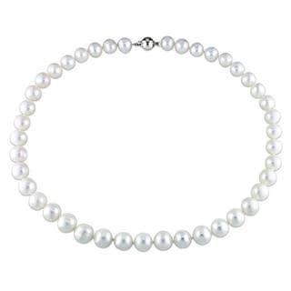Miadora White Cultured Freshwater Pearl 18-inch Necklace (10-11 mm)