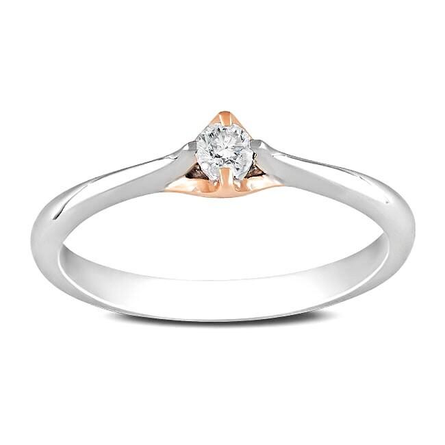 Miadora 10k Two-tone Gold 1/10ct TDW Diamond Solitaire Ring (G-H, I2-I3)