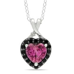 Miadora Sterling Silver Created Pink Sapphire, Black Spinel and Diamond Necklace