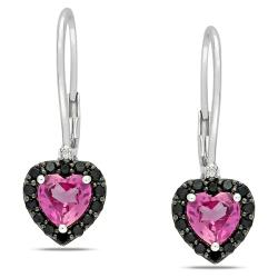 Miadora Sterling Silver Created Pink Sapphire, Black Spinel and Diamond Earrings