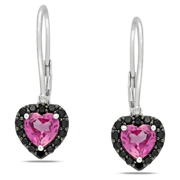 M by Miadora Sterling Silver Created Pink Sapphire, Black Spinel and Diamond Earrings