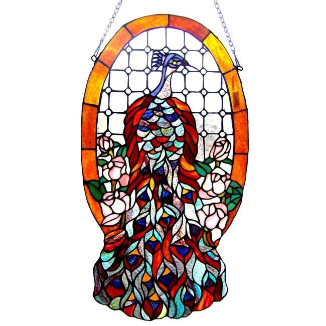 Tiffany-style Peacock Window Panel