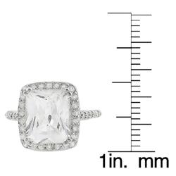 Tressa Collection Sterling Emerald &Round CZ Bridal Engagement Ring